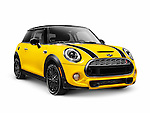 Yellow 2014 Mini Cooper S, Mini Hatch, hatchback compact city car isolated on white background with clipping path