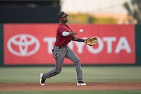 AZL Diamondbacks second baseman Geraldo Perdomo (12) makes a throw to first base during an Arizona League game against the AZL Angels at Tempe Diablo Stadium on June 27, 2018 in Tempe, Arizona. The AZL Angels defeated the AZL Diamondbacks 5-3. (Zachary Lucy/Four Seam Images)