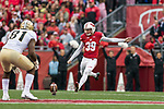 Wisconsin Badgers kicker Zach Hintze (39) kicks off during an NCAA College Big Ten Conference football game against the Purdue Boilermakers Saturday, October 14, 2017, in Madison, Wis. The Badgers won 17-9. (Photo by David Stluka)