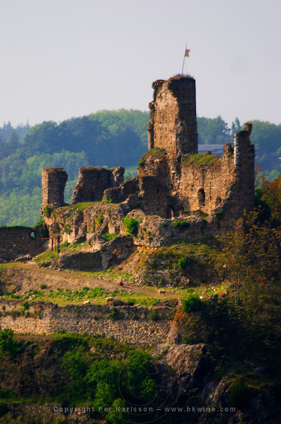 A view from the Mont Pipet on the ruins of the Episcopal chateau Batie on the Mont Salomon mountain.   Vienne, Isère Isere, France, Europe