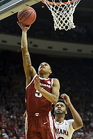 NWA Democrat-Gazette/CHARLIE KAIJO Arkansas Razorbacks guard Jalen Harris (5) shoots during the second half of the NCAA National Invitation Tournament, Saturday, March 23, 2019 at the Simon Skjodt Assembly Hall at the University of Indiana in Bloomington, Ind. The Arkansas Razorbacks fell to the Indiana Hoosiers 63-60.