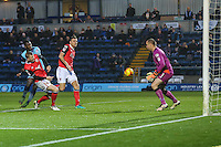 Aaron Pierre of Wycombe Wanderers  left scores the opening goal of the game during the Sky Bet League 2 match between Wycombe Wanderers and Morecambe at Adams Park, High Wycombe, England on 12 November 2016. Photo by David Horn.