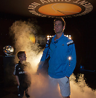 10-02-14, Netherlands,Rotterdam,Ahoy, ABNAMROWTT,Florian Mayer(GER) walk on<br /> Photo:Tennisimages/Henk Koster