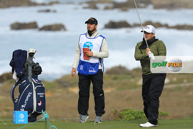 Roberto Diaz (USA) in action at Spyglass Hill Golf Course during the second round of the AT&amp;T Pro-Am, Pebble Beach Golf Links, Monterey, USA. 08/02/2019<br /> Picture: Golffile | Phil Inglis<br /> <br /> <br /> All photo usage must carry mandatory copyright credit (&copy; Golffile | Phil Inglis)