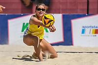 27th June 2020, Dusseldorf, Germany; The German Beach Volleyball League;  Cinja Tillmann digs low to her oartner