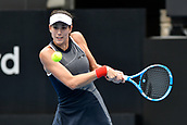 10th January 2018, Sydney Olympic Park Tennis Centre, Sydney, Australia; Sydney International Tennis, round 2; Gabrine Muguruza (ESP) hits a backhand in her match against Kiki Bertens (NED)
