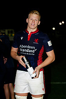 Hugh Tizard of London Scottish wins man of the match during the Championship Cup match between London Scottish Football Club and Yorkshire Carnegie at Richmond Athletic Ground, Richmond, United Kingdom on 4 October 2019. Photo by Carlton Myrie / PRiME Media Images