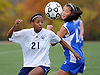New Hyde Park, NY - November 11, 2009: South Side High School senior No. 21 Crystal Dunn, left, and Division Avenue freshman No. 11 Alyssa Fiore chase after a loose ball during the Nassau County varsity girls' soccer Class A final vs. Division Avenue at Tully Park. After becoming a four-time All-American at the University of North Carolina and winning the Hermann Award in 2013, Dunn was selected first overall by the Washington Spirit in the 2014 National Women's Soccer League College Draft. (Photo by James Escher)