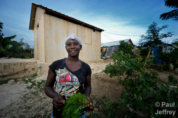 A survivor of Haiti's devastating earthquake, Nicole Guyoto picks leaves in front of her new house in Leogane, south of the Haitian capital of Port-au-Prince. The houses here were built with assistance from the Christian Reformed World Relief Committee, a member of the ACT Alliance. CRWRC is planning more than 1700 houses in the community, and had about half that number completed by the first anniversary of the January 21, 2010 quake. The houses are built on the foundations of the residents' former homes, and are transitional--designed to be improved by residents as they are able. The houses have yet to receive their first coat of paint. CRWRC has also worked with community members on water and sanitation issues in response to the cholera outbreak, and is providing psycho-social support for residents as they rebuild their lives.