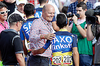 Team Saxo Bank-Tinkoff Bank General Manager Bjarne Riis (l) and Jesus Hernadez after the stage of La Vuelta 2012 beetwen Cercedilla and Madrid.September 9,2012. (ALTERPHOTOS/Acero)
