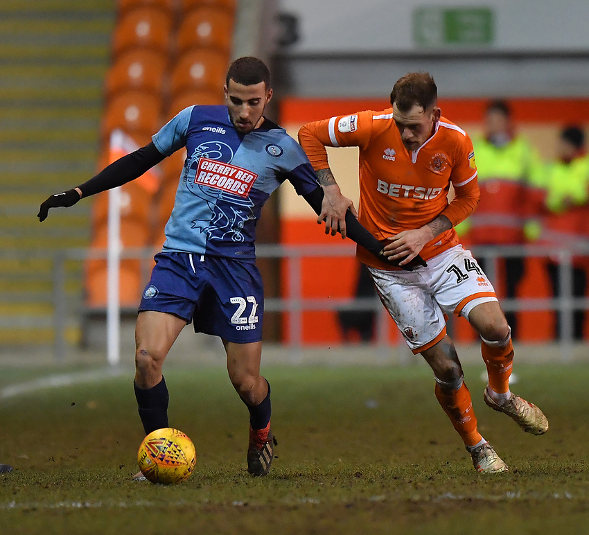 Blackpool's Harry Pritchard battles with Wycombe Wanderers' Nick Freeman<br /> <br /> Photographer Dave Howarth/CameraSport<br /> <br /> The EFL Sky Bet League One - Blackpool v Wycombe Wanderers - Tuesday 29th January 2019 - Bloomfield Road - Blackpool<br /> <br /> World Copyright © 2019 CameraSport. All rights reserved. 43 Linden Ave. Countesthorpe. Leicester. England. LE8 5PG - Tel: +44 (0) 116 277 4147 - admin@camerasport.com - www.camerasport.com