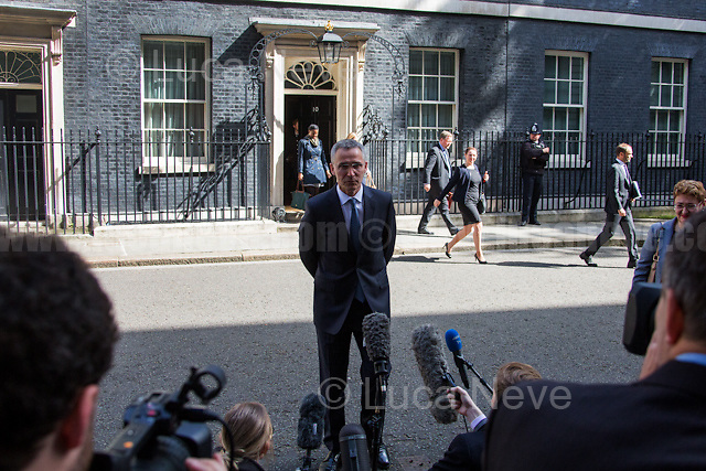 London, 10/05/2017. Today, NATO Secretary General Jens Stoltenberg visits 10 Downing Street where he meets the British Prime Minister Theresa May. At the end of the meeting Jens Stoltenberg gives a brief press conference outside Number 10.<br />