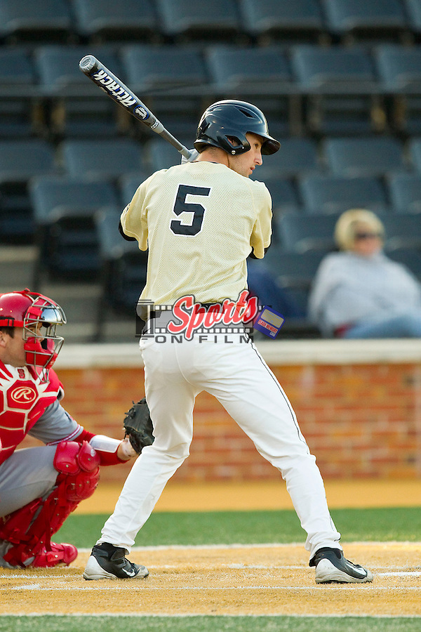 Evan Stephens (5) of the Wake Forest Demon Deacons at bat against the North Carolina State Wolfpack at Wake Forest Baseball Park on March 15, 2013 in Winston-Salem, North Carolina.  The Wolfpack defeated the Demon Deacons 12-6.  (Brian Westerholt/Sports On Film)