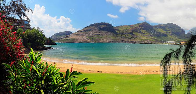Kalapaki Beach with the Nawiliwili Bay and Ha'upu Mountain Range, Kaua'i.