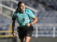 CALI - COLOMBIA, 24-09-2019: Jessica Villadiego, árbitro, durante partido por la final ida de la Liga Femenina Aguila 2019 entre América de Cali e Independiente Medellín jugado en el estadio Pascual Guerrero de la ciudad de Cali. / Jessica Villadiego, referee, during the first leg final match as part of Aguila Women League 2019 between America de Cali and Independiente Medellin played at Pascual Guerrero stadium in Cali. Photo: VizzorImage / Gabriel Aponte / Staff