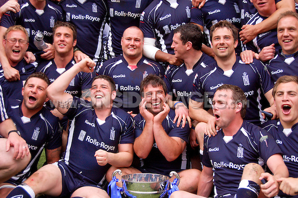 The Navy squad celebrates their win over the Army. Babcock Inter-Services Championship match between the Army and the Navy on May 1, 2010 at Twickenham Stadium in London, England. [Mandatory Credit: Patrick Khachfe/Onside Images]