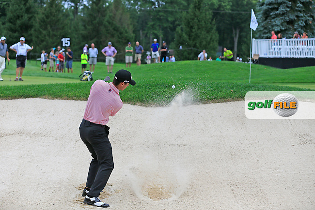 Billy Horschel (USA) chips from a bunker at the 15th green during Friday's Round 1 of the 2013 Bridgestone Invitational WGC tournament held at the Firestone Country Club, Akron, Ohio. 2nd August 2013.<br /> Picture: Eoin Clarke www.golffile.ie