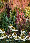 Vashon-Maury Island, WA: Summer perennial garden featuring echinacea 'Cheyenne Spirit' , barberry 'Orange Rocket', Pennisetum 'Red Head' and poppy pods. Garden art by Brian Fisher.