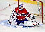 22 November 2008: Montreal Canadiens' goaltender Carey Price makes a pad save in the third period against the Boston Bruins at the Bell Centre in Montreal, Quebec, Canada.  After a 2-2 regulation tie and a non-scoring 5-minute overtime period, the Boston Bruins scored the lone shootout goal thus defeating the Canadiens 3-2. The Canadiens, celebrating their 100th season, honored former Montreal goaltender Patrick Roy, and retired his jersey (Number 33) during pre-game ceremonies. ***** Editorial Use Only *****..Mandatory Photo Credit: Ed Wolfstein Photo *** Editorial Sales through Icon Sports Media *** www.iconsportsmedia.com