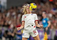ORLANDO, FL - MARCH 05: Leah Williamson #14 of England controls the ball during a game between England and USWNT at Exploria Stadium on March 05, 2020 in Orlando, Florida.