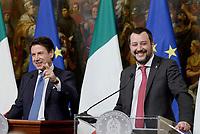 Roma, 17 Gennaio 2019<br />  Giuseppe Conte, Matteo Salvini.<br /> Conferenza stampa al termine del Consiglio dei Ministri che ha approvato il decreto legge su Reddito di cittadinanza e pensioni