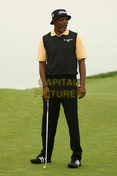 SAMUEL L. JACKSON.9th Annual Michael Douglas & Friends Celebrity Golf Event at the Trump National Golf Club, Rancho Palos Verdes, California, USA..full length black trousers sleeveless top hat putter club.CAP/ADM/BP.©Byron Purvis/AdMedia/Capital Pictures
