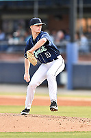 Asheville Tourists starting pitcher Shelby Lackey (10) delivers a pitch during a game against the West Virginia Power at McCormick Field on May 30, 2019 in Asheville, North Carolina. The  Power defeated the Tourists 8-3. (Tony Farlow/Four Seam Images)