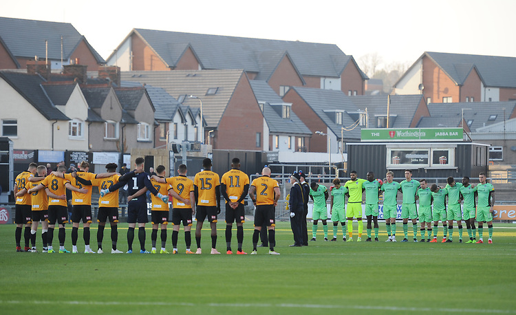 Players from both sides observe a minutes silence before kickoff<br /> <br /> Photographer Kevin Barnes/CameraSport<br /> <br /> The EFL Sky Bet League Two - Newport County v Colchester United - Saturday 17th November 2018 - Rodney Parade - Newport<br /> <br /> World Copyright © 2018 CameraSport. All rights reserved. 43 Linden Ave. Countesthorpe. Leicester. England. LE8 5PG - Tel: +44 (0) 116 277 4147 - admin@camerasport.com - www.camerasport.com