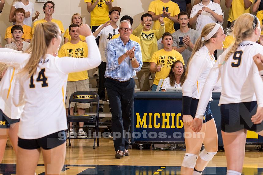 The University of Michigan volleyball team falls to Nebraska, 3-0, at Cliff Keen Arena in Ann Arbor, MI on September 23, 2016.