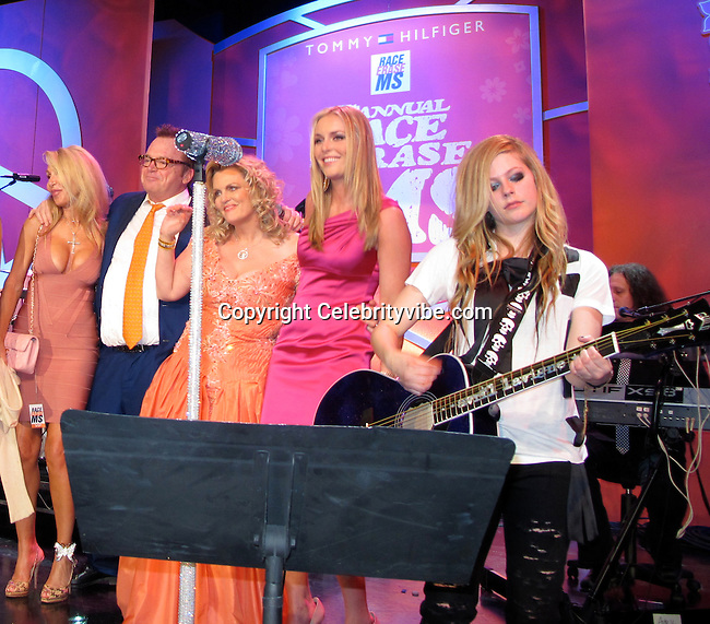 Linda Thompson, Tom Arnold, Nancy Davis, Lindsey Vonn and Avril Lavigne..Race to Erase MS Hosted by Nancy Davis – Inside..Hyatt Regency Century Plaza Hotel..Century City, CA, USA..Friday, May 07, 2010..Photo By CelebrityVibe.com.To license this image please call (212) 410 5354; or Email: CelebrityVibe@gmail.com ; .website: www.CelebrityVibe.com.