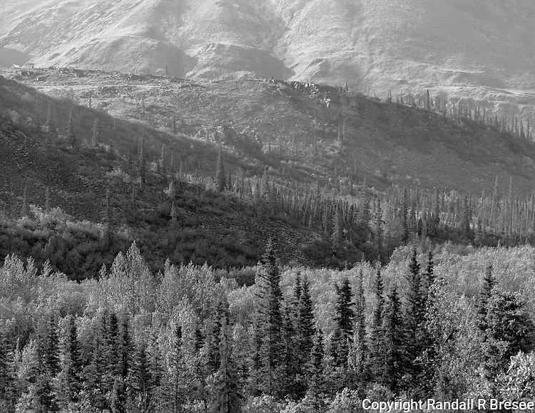 &quot;Hills In Tombstone Territorial Park&quot; Yukon Territory, Canada<br /> <br /> The Tombstone Territorial Park lies about 1.5 hours north of Dawson City on the Yukon's Dempster Highway. This black and white photo shows hills in the park illuminated nicely by sunlight.