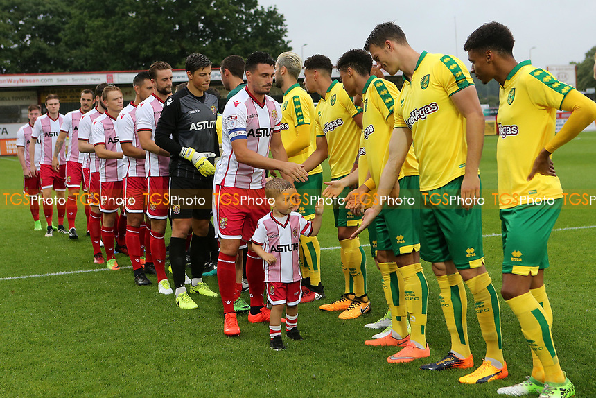 A Stevenage mascot meets the Norwich players pre-match during Stevenage vs Norwich City, Friendly Match Football at the Lamex Stadium on 11th July 2017