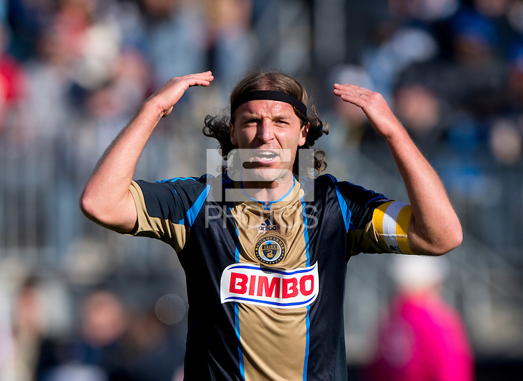 Jeff Parke (31) of the Philadelphia Union disagrees with a referee during a Major League Soccer game at PPL Park in Chester, PA. Sporting Kansas City defeated the Philadelphia Union, 2-1.
