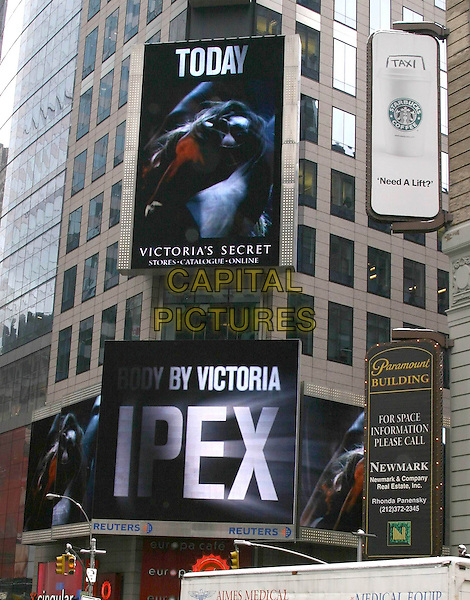 BILLBOARD SIGN.Gisele Bundchen launches The New Victoria's Secret IPEX Bra in Times Square, New York, USA, March 1st 2005..Ref: IW.www.capitalpictures.com.sales@capitalpictures.com.©Capital Pictures.