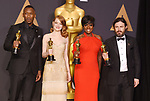 HOLLYWOOD, CA - FEBRUARY 26: (L-R) Actors Mahersala Ali, winner of the award for Actor in a Supporting Role for 'Moonlight,' Emma Stone, winner of the award for Actress in a Leading Role for 'La La Land,' Viola Davis, winner of the award for Actress in a Supporting Role for 'Fences,' and Casey Affleck, winner of the award for Actor in a Leading Role for 'Manchester by the Sea,' pose in the press room during the 89th Annual Academy Awards at Hollywood & Highland Center on February 26, 2017 in Hollywood, California.