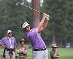 Ben Hossler swings during the Barracuda Championship PGA golf tournament at Montrêux Golf and Country Club in Reno, Nevada on Friday, July 26, 2019.