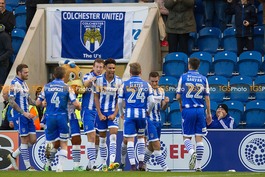 Kurtis Guthrie of Colchester United celebrates the opening goal with his team mates during Colchester United vs Crewe Alexandra, Sky Bet EFL League 2 Football at the Weston Homes Community Stadium on 26th November 2016