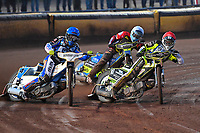 Heat 5 Josh Grajczonek of Poole Pirates red leads Linus Sundstrum of Poole Pirates blue during Poole Pirates vs Belle Vue Aces, Elite League Speedway at The Stadium on 11th April 2018