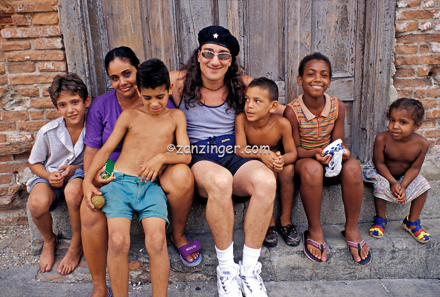 Cuban  Children on Doorstep, Republic of Cuba,