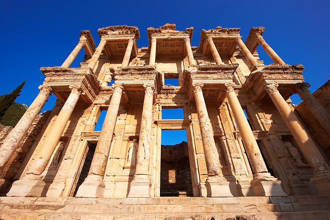 Picture of The library of Celsus. Images of the Roman ruins of Ephasus, Turkey. Stock Picture & Photo art prints 5