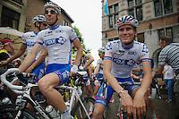 Matthieu Ladagnous (FRA) & Yoann Offredo (FRA) at the start<br /> <br /> Halle - Ingooigem 2013<br /> 197km