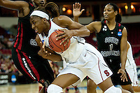 FRESNO, CA--Nneka Ogwumike drives underneath the block during a 76-60 win over South Carolina at the Save Mart Center for the West Regionals semifinals of the 2012 NCAA Championships.