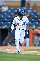 Kean Wong (5) of the Durham Bulls hustles down the first base line against the Columbus Clippers at Durham Bulls Athletic Park on June 1, 2019 in Durham, North Carolina. The Bulls defeated the Clippers 11-5 in game one of a doubleheader. (Brian Westerholt/Four Seam Images)