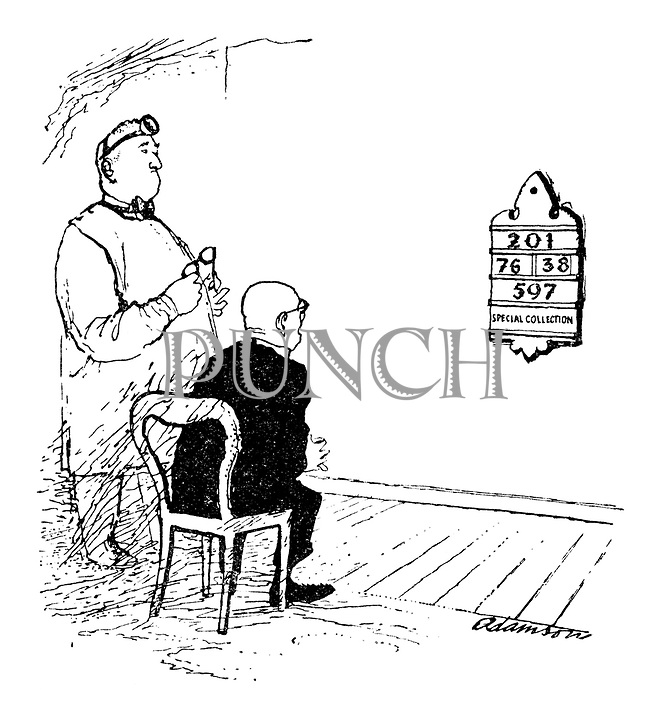 (Vicar reading numbers from a hymn board for an eye test)