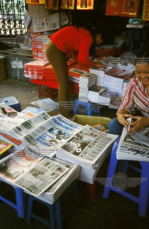 Newspaper stand in Hanoi.