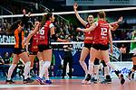 04.02.2018, Halle Berg Fidel, Muenster<br />Volleyball, Bundesliga Frauen, Normalrunde, USC MŸnster / Muenster vs. MTV Allianz Stuttgart<br /><br />Jubel Michaela Mlejnkova (#16 Stuttgart), Teodora Pusic (#11 Stuttgart), Nika Daalderop (#9 Stuttgart), Mallory Grace McCage (#5 Stuttgart), , Deborah van Daelen (#12 Stuttgart)<br /><br />  Foto &copy; nordphoto / Kurth