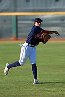AZL Indians Red Christian Cairo (8) warms up before an Arizona League game against the AZL Padres 1 on June 23, 2019 at the Cleveland Indians Training Complex in Goodyear, Arizona. AZL Indians Red defeated the AZL Padres 1 3-2. (Zachary Lucy/Four Seam Images)