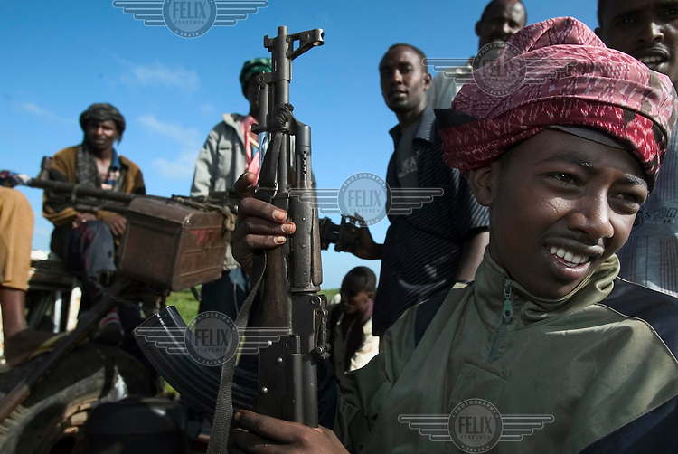 Forces loyal to the transitional government (TFG) celebrate after prevailing in heavy fighting at Moode Moode. Backed by the Ethiopian military, TFG troops quickly captured territory previously held by the Union of Islamic Courts (UIC).