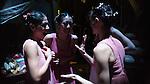 "English National Ballet. ""Romeo and Juliet"". L to R: Crystal Costa, Kei Akahoshi, Adela Ramirez joke backstage."