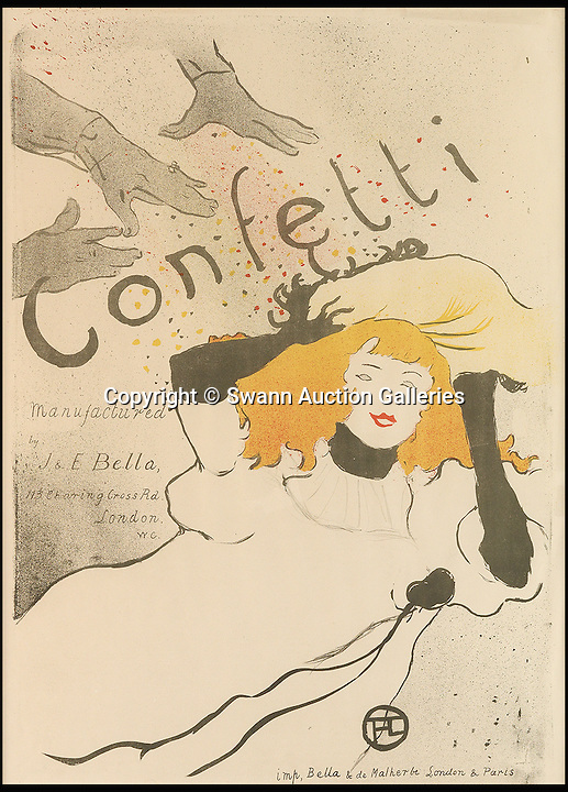 BNPS.co.uk (01202 558833)<br /> Pic: SwannAuctionGalleries/BNPS<br /> <br /> Henri de Toulouse-Lautrec, Confetti, 1894. Estimate £25,000.<br /> <br /> A poster by Henri de Toulouse-Lautrec featuring a beautiful woman the flamboyant artist became obsessed with on a cruise has emerged for sale for £40,000.<br /> <br /> The French painter was commissioned to produce an advertsing poster for the 1895 Paris Salon art exhibition and he recalled the stranger he encountered on his voyage weeks before as inspiration for it.<br /> <br /> The poster is one of a handful of Lautrec lithograph prints that are being sold by a collector at auction in the US.